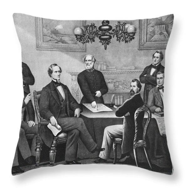 Jefferson Davis, Cabinet Throw Pillow by Photo Researchers