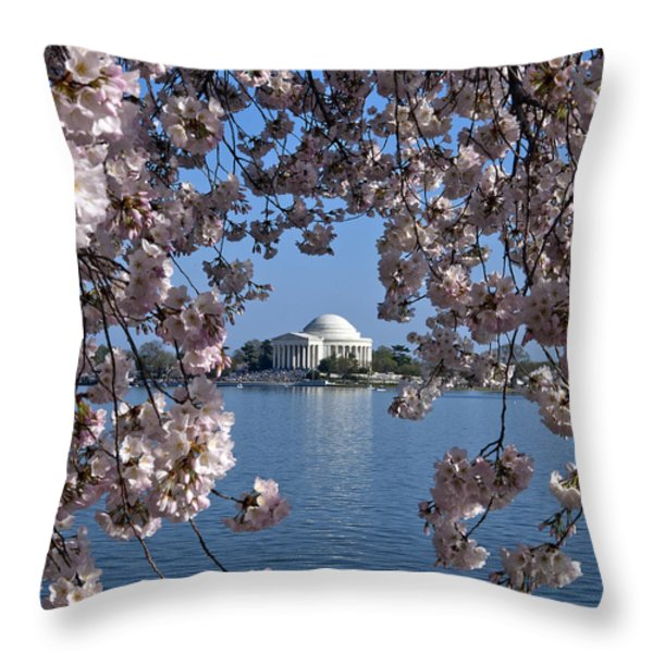 Jefferson Memorial on the Tidal Basin DS051 Throw Pillow by Gerry Gantt