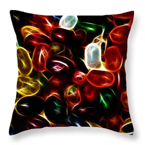 Jelly Belly - Electric Throw Pillow by Wingsdomain Art and Photography