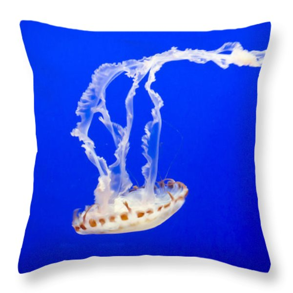 Jelly Fish Throw Pillow by Heather Applegate