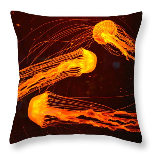 Jellyfish Abstract Throw Pillow by Sandi OReilly