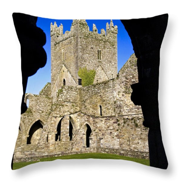 Jerpoint Abbey In Kilkenny Throw Pillow by Chris Hill