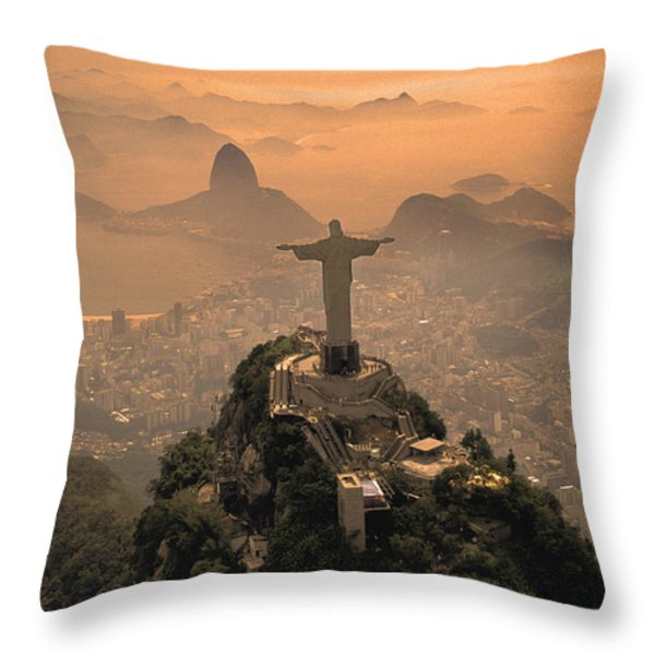 Jesus in Rio Throw Pillow by Christian Heeb