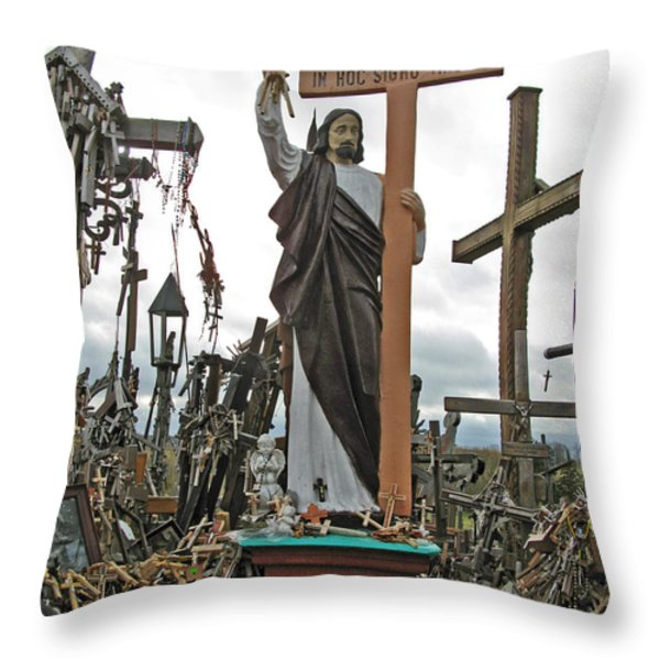 Jesus On The Hill Of Crosses. Lithuania Throw Pillow by Ausra Huntington nee Paulauskaite