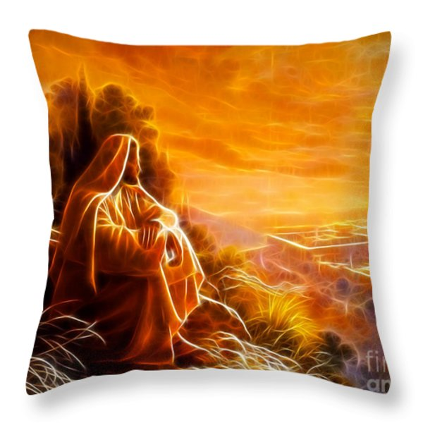Jesus Thinking About People Throw Pillow by Pamela Johnson