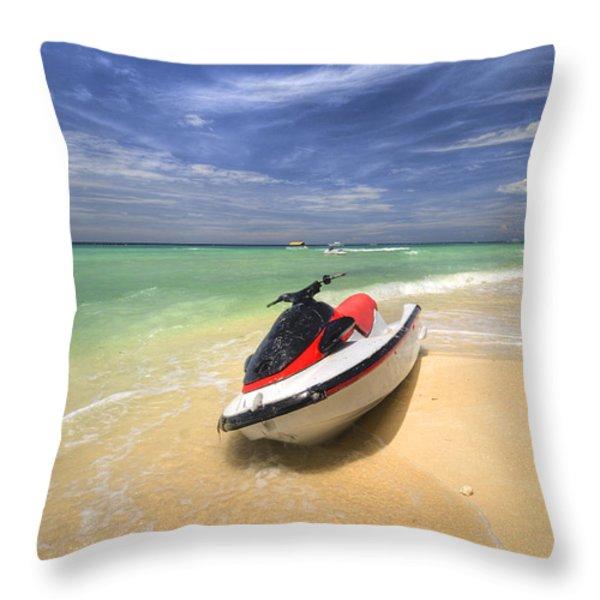 Jet Ski Throw Pillow by Yhun Suarez