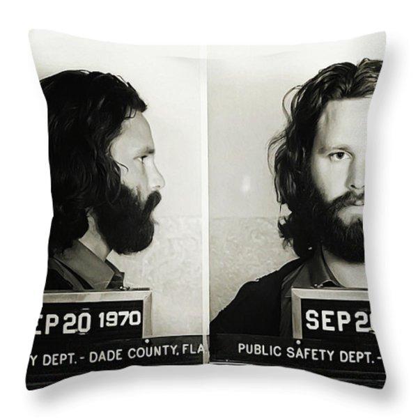 Jim Morrison Mugshot Throw Pillow by Bill Cannon