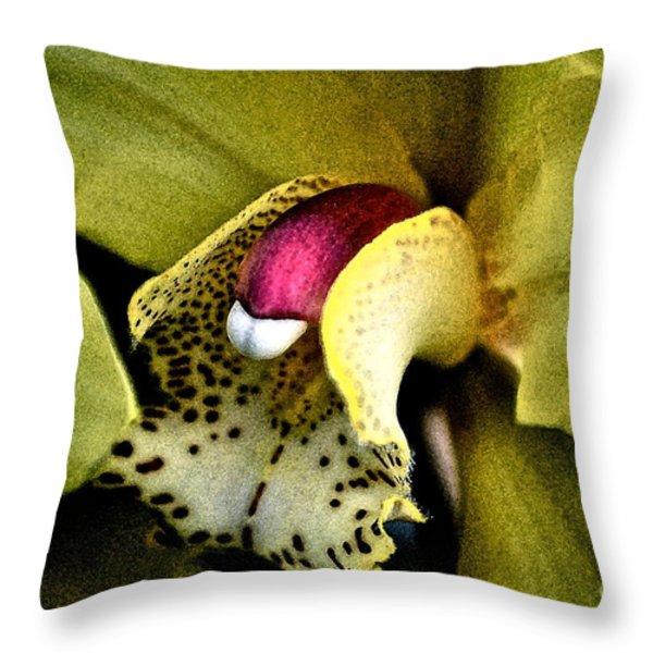Jimenez Orchid Throw Pillow by Gwyn Newcombe
