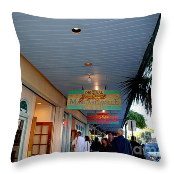 Jimmy Buffet's Margaritaville Key West Throw Pillow by Susanne Van Hulst
