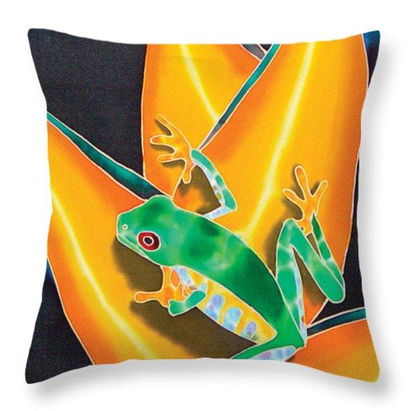 Joe's Treefrog Throw Pillow by Daniel Jean-Baptiste