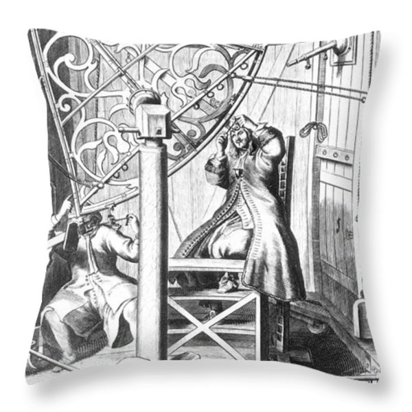 Johannes Hevelius And His Assistant Throw Pillow by Science Source