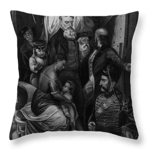 John Brown Meeting Slave Mother Throw Pillow by Photo Researchers