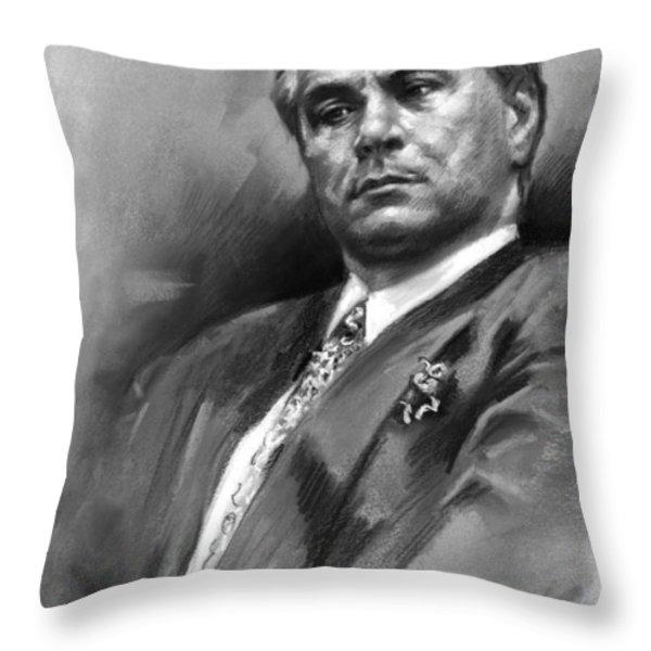 John Gotti Throw Pillow by Ylli Haruni