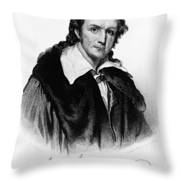 John James Audubon, French-american Throw Pillow by Photo Researchers, Inc.