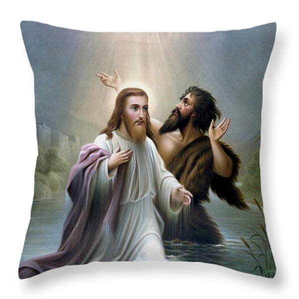 John the Baptist baptizes Jesus Christ Throw Pillow by War Is Hell Store