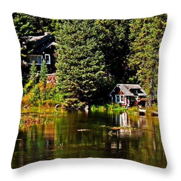 Johnny Sack Cabin II Throw Pillow by Robert Bales