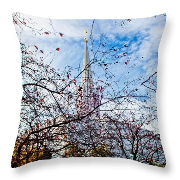 Jordan River Temple Branches Throw Pillow by La Rae  Roberts