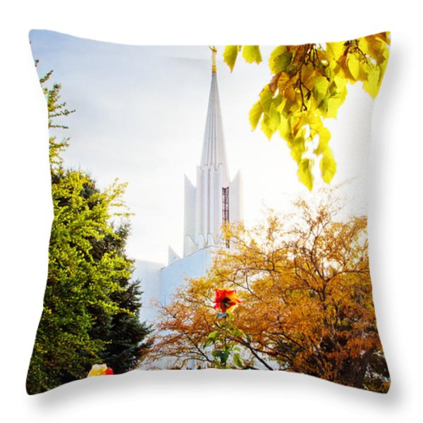 Jordan River Temple Rose Throw Pillow by La Rae  Roberts