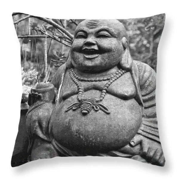 Joyful Lord Buddha Throw Pillow by Karon Melillo DeVega