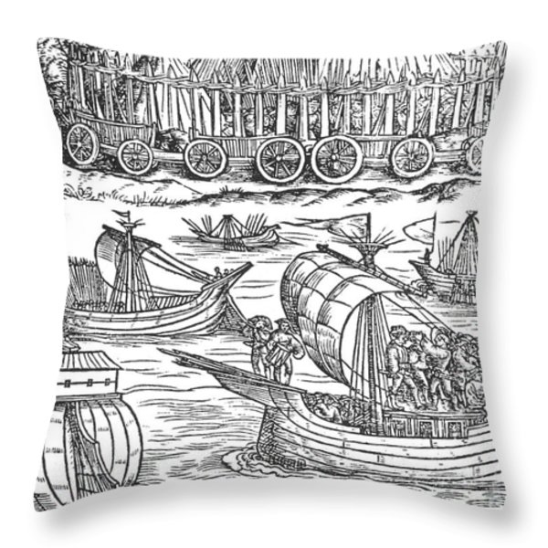 Julius Caesar Sailing The Thames 54 Bc Throw Pillow by Photo Researchers