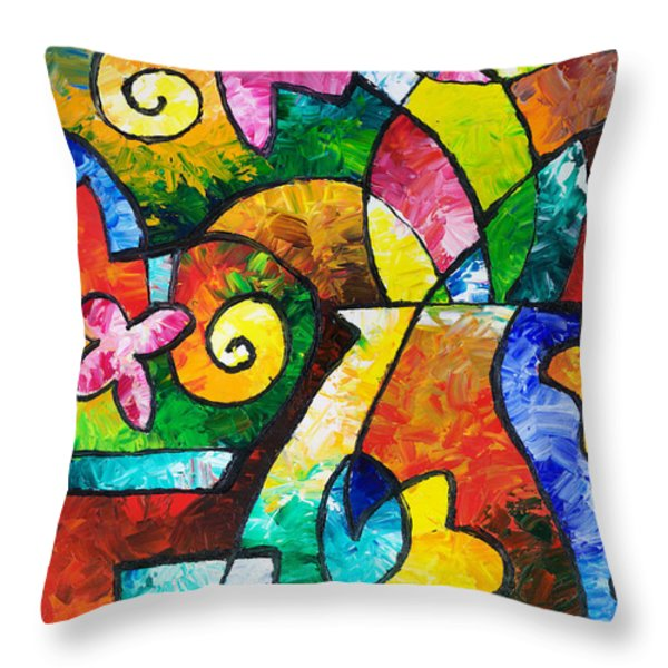 July Blooms Throw Pillow by Sally Trace