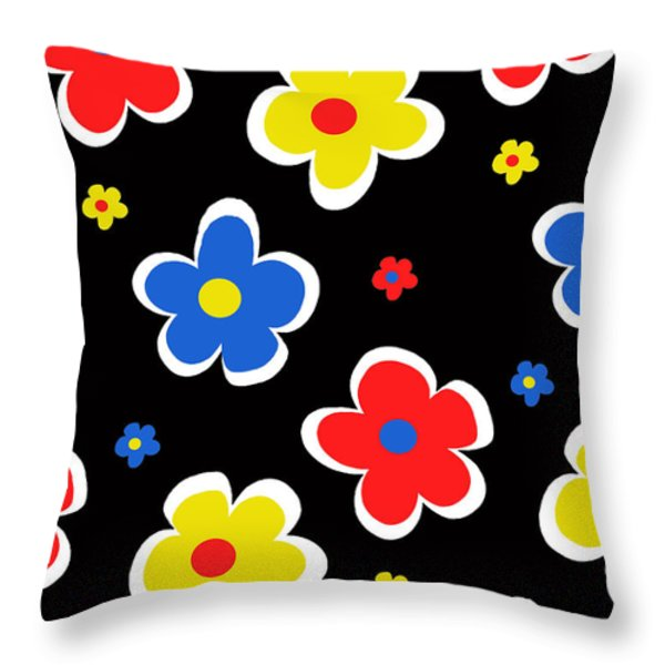 Junior Florals Throw Pillow by Louisa Knight