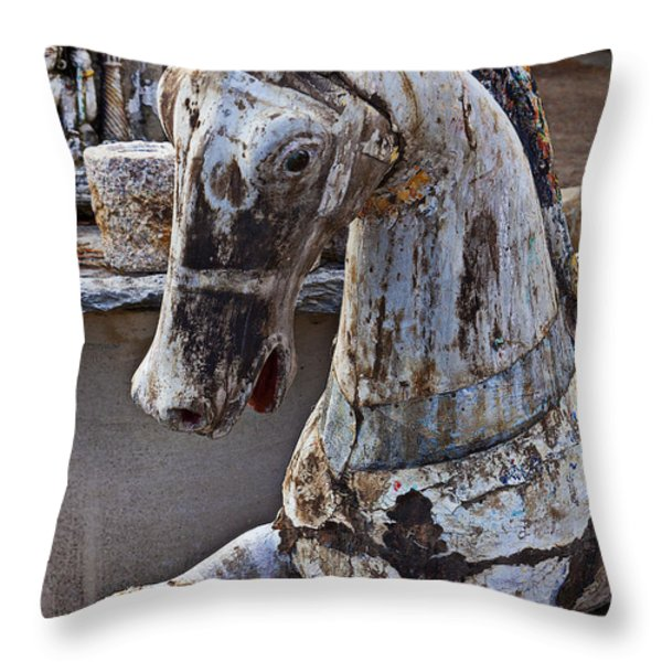 Junkyard Horse Throw Pillow by Garry Gay