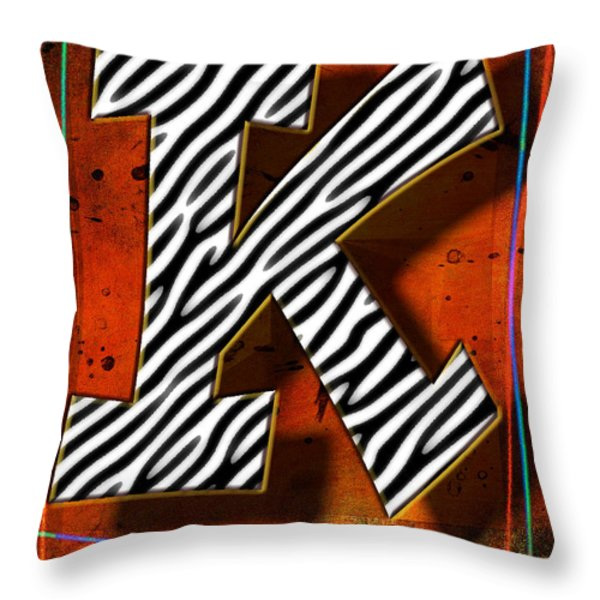 K Throw Pillow by Mauro Celotti
