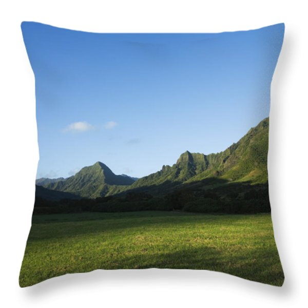 Kaaawa Valley Throw Pillow by Dana Edmunds - Printscapes