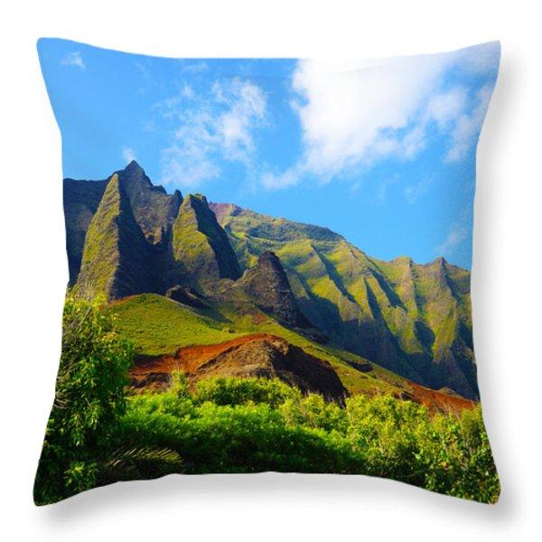 Kalalau Mountains Morning Kauai Throw Pillow by Kevin Smith