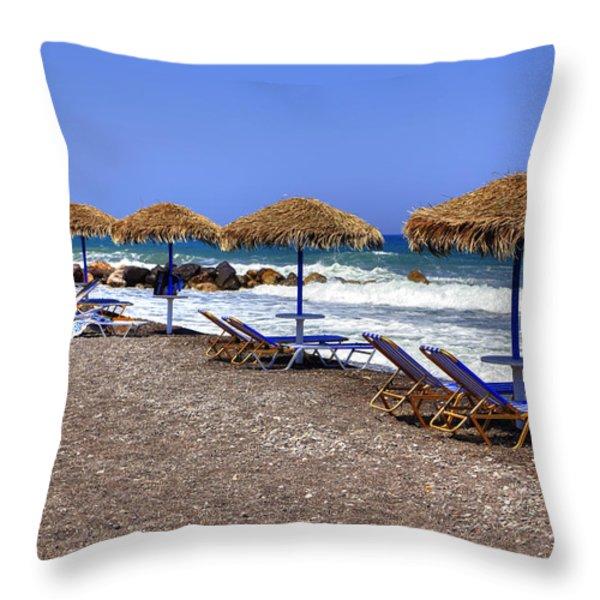 Kamari - Santorini Throw Pillow by Joana Kruse