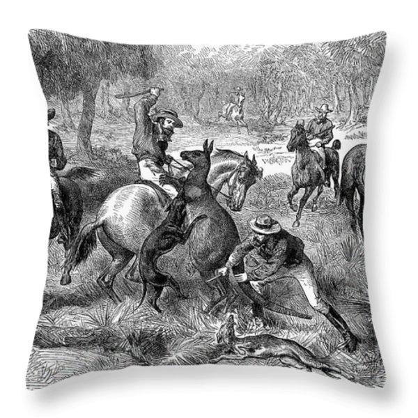 Kangaroo Hunting, 1876 Throw Pillow by Granger