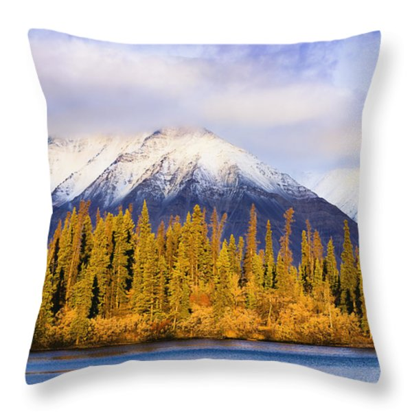 Kathleen Lake And Mountains At Sunrise Throw Pillow by Yves Marcoux