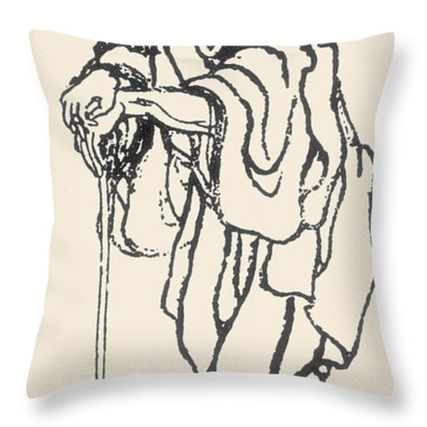 Katsushika Hokusai Throw Pillow by Granger