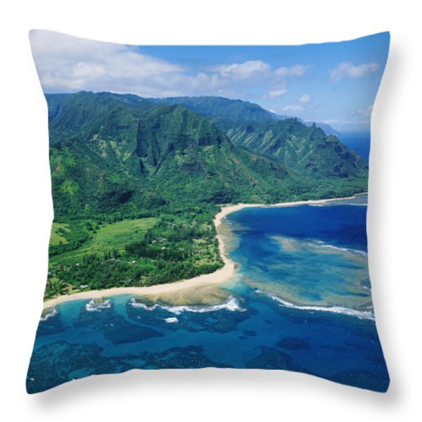 Kauai, Tunnels Beach Throw Pillow by Greg Vaughn - Printscapes