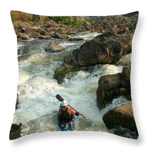 Kayaker Running Waterfalls At Great Throw Pillow by Skip Brown