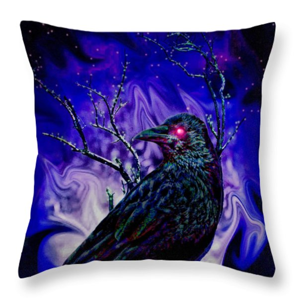 Keeper Of The Crow Night Watch Throw Pillow by Tisha McGee
