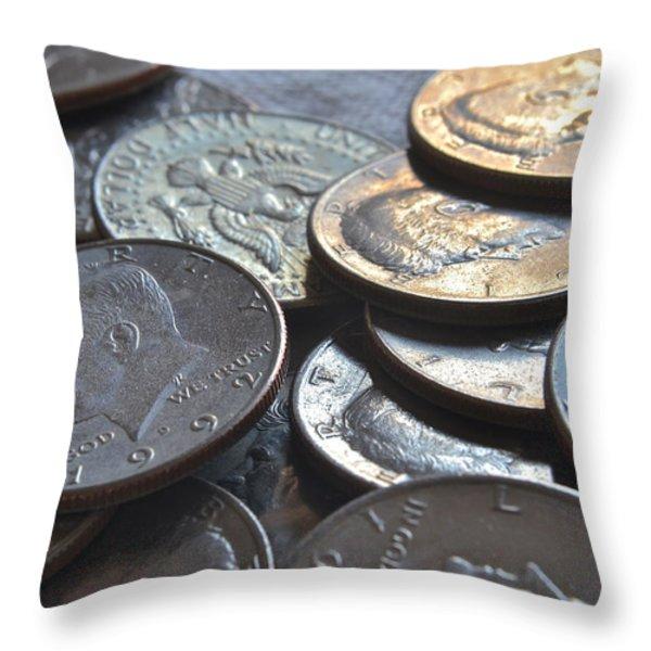 Kennedy Half Dollars I Throw Pillow by Bill Owen