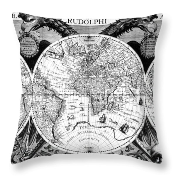 Keplers World Map, Tabulae Throw Pillow by Science Source