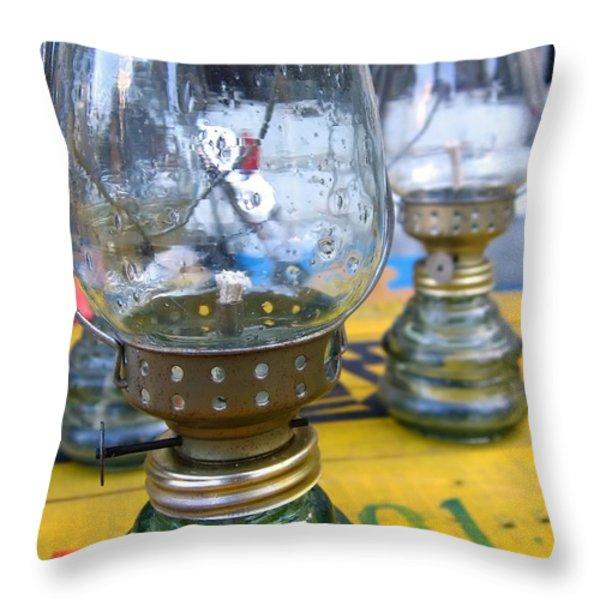 Kerosene Lamps Throw Pillow by Yali Shi