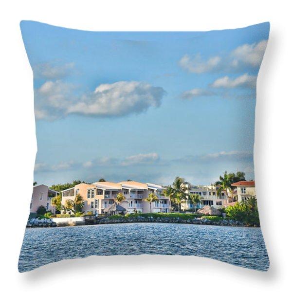 Key Largo Houses Throw Pillow by Chris Thaxter