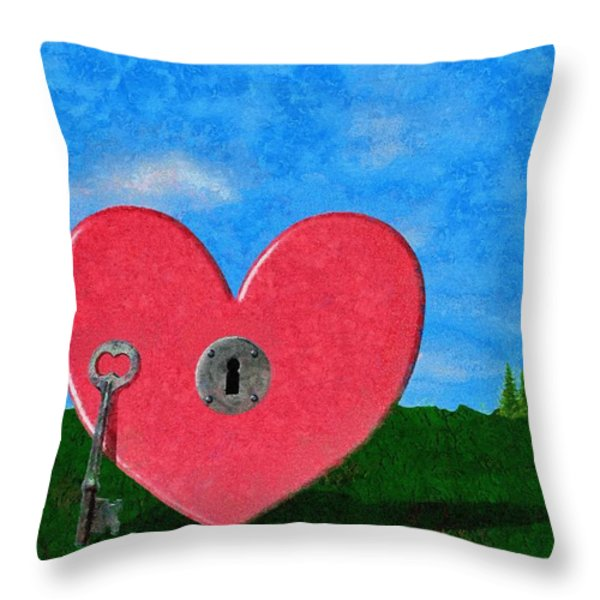 Key To My Heart Throw Pillow by Jeff Kolker