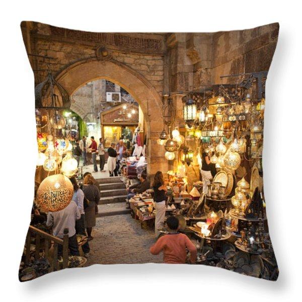Khan El Khalili Market In Cairo Throw Pillow by Taylor S. Kennedy