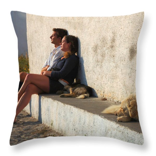 Kicking Back In Greece Throw Pillow by Bob Christopher