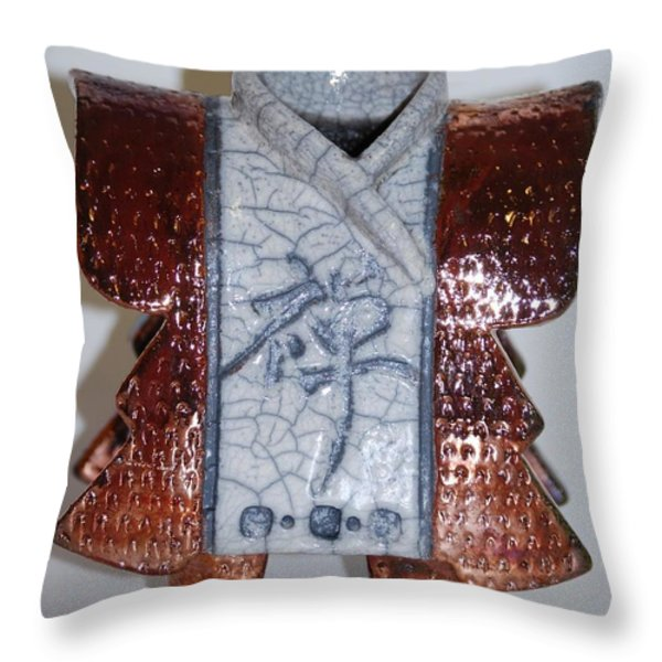 Kimono People Throw Pillow by Victoria Page