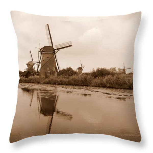 Kinderdijk In Sepia Throw Pillow by Carol Groenen