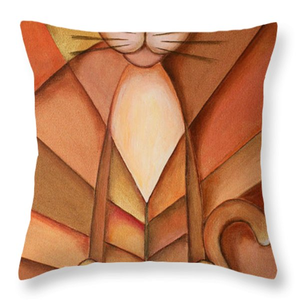 King of the Cats Throw Pillow by Jutta Maria Pusl