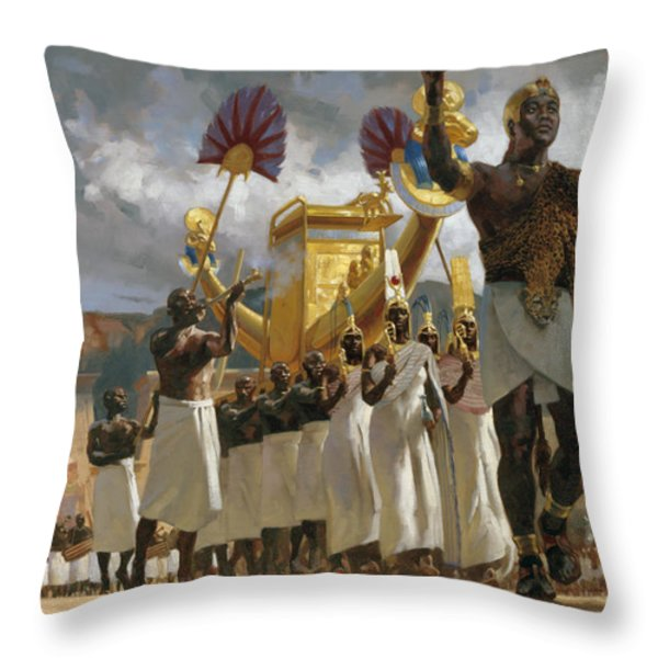 King Taharqa Leads His Queens Throw Pillow by Gregory Manchess