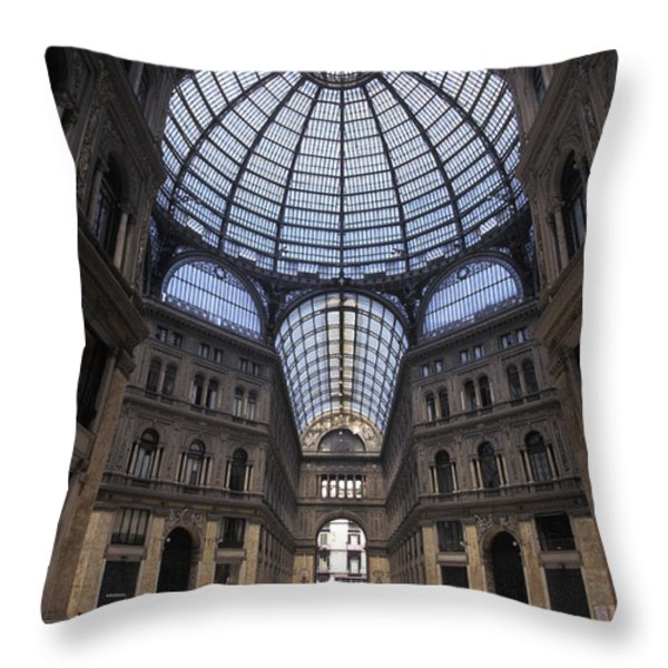 King Umberto I Shopping Arcade Throw Pillow by Richard Nowitz