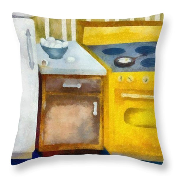 Kitchen With Broken Eggs Throw Pillow by Michelle Calkins